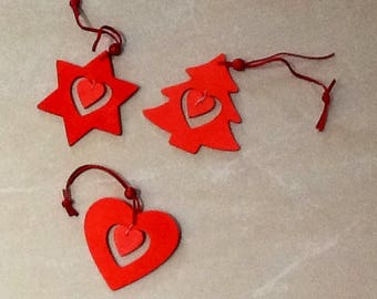 Red painted wood Christmas decoration