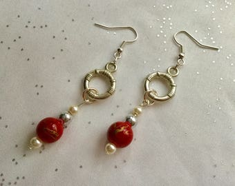 Red and gold Pearl for pierced earrings