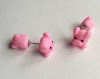 Pink pig earrings