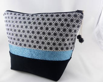 Kit makeup black, cotton suede and turquoise sequins band