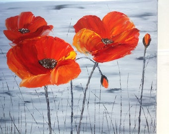 "Modern ""poppies"" - Painting palette knife oil - painting poppies"