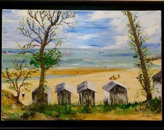 """Palette knife oil painting """"beach ladies"""" island of Noirmoutier Vendée"""