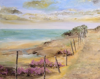 "Table knife oil painting ""the path on the dune"""