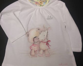Tender T-shirt for little girl-long sleeve T-shirts beautiful-T-Shir Bear and pony-gift for first year-useful gift for birth