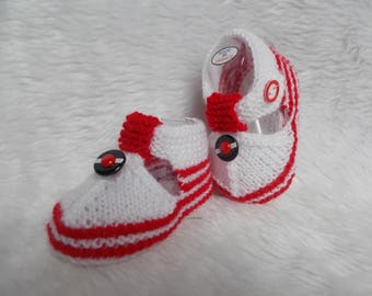 Sailor baby booties 0/3 month Navy beret red white baby wool