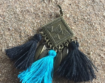 Earrings turquoise and black tassels