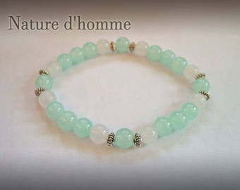Pastel blue opaline mens bracelet and and translucent white agate Ref: BN-089