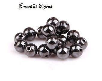 8 round beads 8 mm Hematite