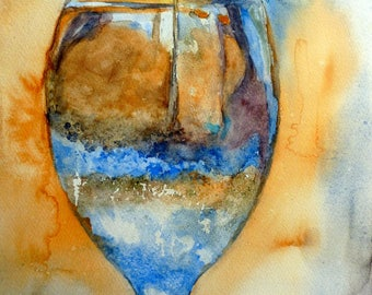 watercolor glass resin Claire in Greece