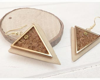 Earrings are made of wood and Cork