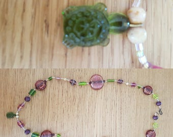 Pink and green turtle necklace