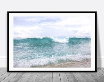 Beach House Art - Ocean Wave Picture Digital Download, Coastal Art, Beach Cottage Decor, Ocean Art Print, Ocean Print, Wave Printable Art
