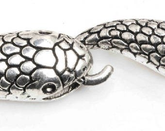 1 head and tail of snake toggle clasp color silver
