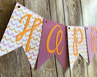 Happy Birthday Banner- Orange and Pink Stripes and Polka Dots