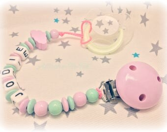Pacifier, pacifier, personalized, cloud, pink and Mint.