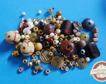 142 ethnic brown beige bone ceramic stone glass beads gold tone wood