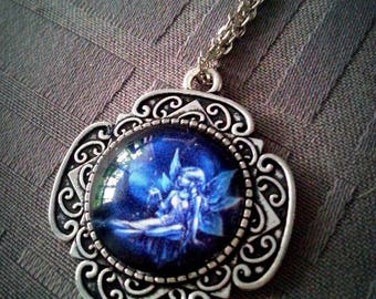 Antique blue fairy, magical pattern, 20mm glass cabochon necklace