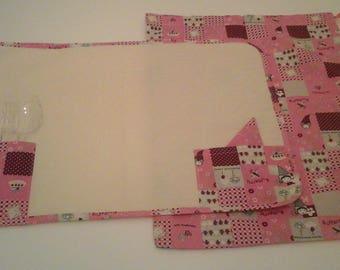 set kindergarten, school, place mat and bag in pink and Fuchsia