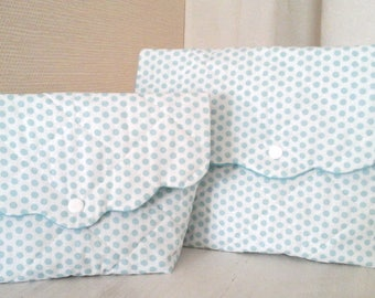 Duo of toiletry white quilted cotton polka dot