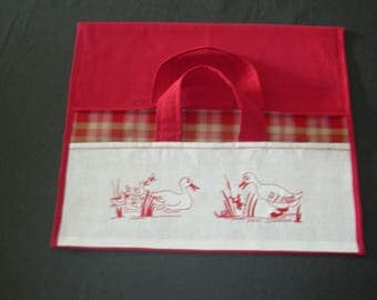 """Bag pie red embroidered """"ducks in REDWORK"""""""