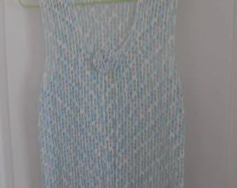 gradient crocheted light blue vest