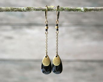 Earrings drops black and bronze on thin chain - sequins jewel enamel - ethnic earrings - Joaty forever
