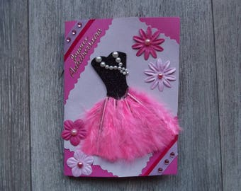 "Birthday card ""Feather dress"" pink"