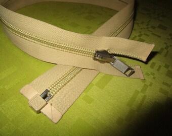 separable beige nylon zip