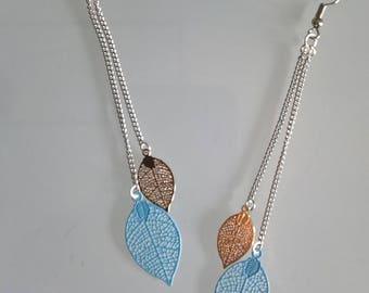 Great earrings thin blue sky/gold leaves