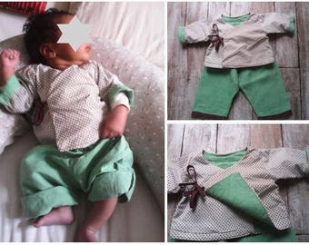 Set top tie and pants linen and cotton