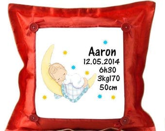 Red cushion Date, weight, time, birth is personalized with name
