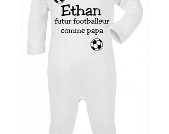 Baby Pajamas as future footballer... personalized with name
