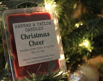 Christmas Cheer Handmade Soy Wax Melt | Cinnamon Clove Nutmeg Scented Wax Tart | Winter Christmas Scented Wax Shot | Christmas Gift Idea
