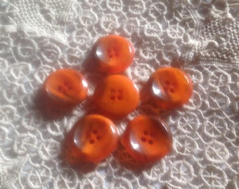 Set of six buttons, round, Center slightly hollow