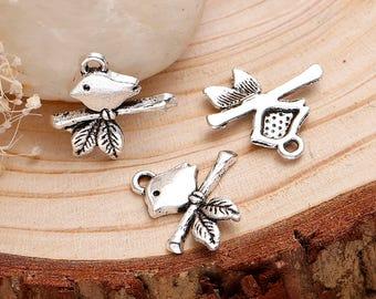 15 - Bird on branch silver charm