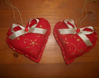 2 cushions door red and gold heart Christmas DECORATION