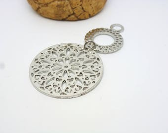 1 pendant Buddhist mandala in 2 parts 56 * 30mm silver matte (8SBA90)