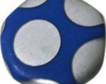 4 beads flat 19mm round irregular dark blue frosted glass with silver dots (FOP09)