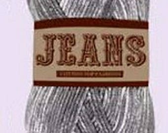 Ball of cotton Jeans medium grey / white (015) for knitting and crochet, 100% cotton washable machine.