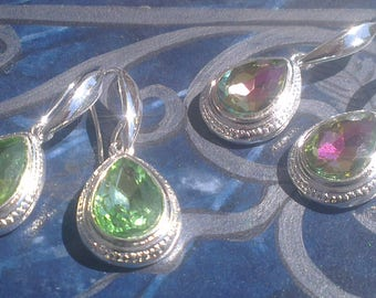Precious Crystal and silver plated earrings