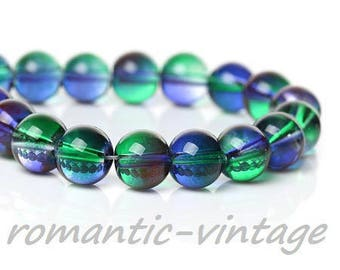 stunning! 10 green and blue/purple glass beads 8mm