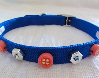 Necklace for dog, customized, blue, pink