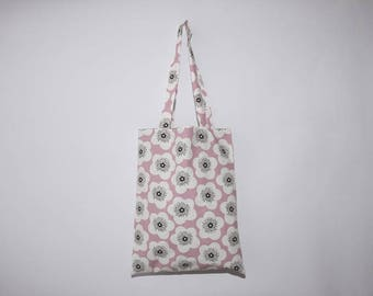 Cotton tote bag printed flowers on pink background