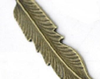 bronze feather charm/pendant