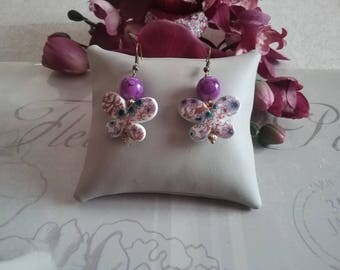 Butterflies with flowers and pearls earrings