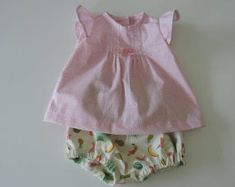 """Blouse ruffles & small short sleeve"" baby set"