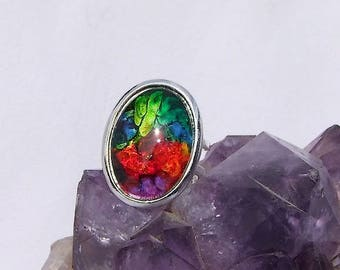 """Named """"Super Nova"""" 4 micron silver plated oval Adjustable ring"""