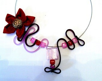 My silicone Ribbon and fabric Flower necklace