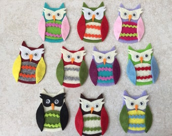 10 little owls felt unique handmade embellishment, scrapbooking, card, custom bag, jewelry, hair clip, OWL