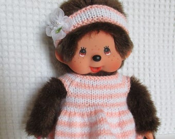Kiki clothing dress and headband with stripes in pink and white wool